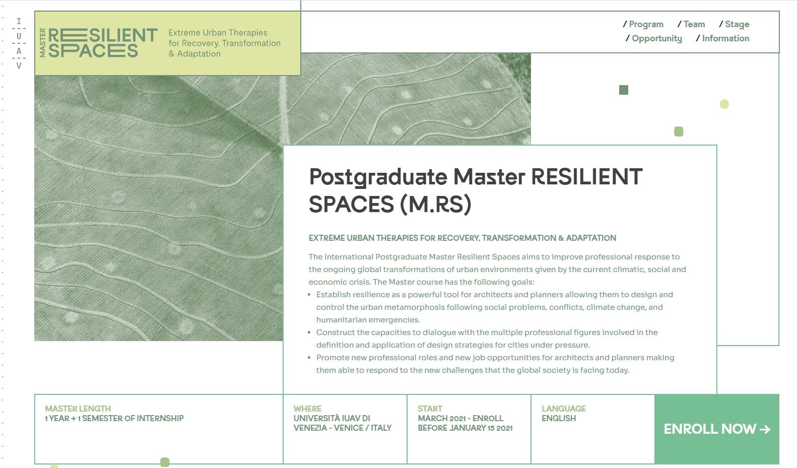 Sitio web del Máster en Espacios Resilientes de la IUAV de Venecia
